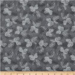 Holiday Magic Tonal Pinecones Grey