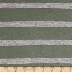 Jersey Knit Light Gray Stripe on Sage