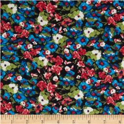 Stretch Soft Jersey Knit Floral Black/Blue/Pink/Green