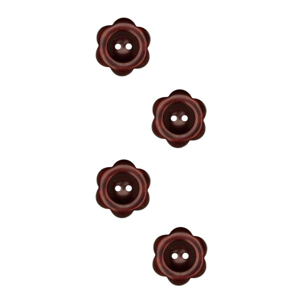 "Riley Blake Sew Together 1"" Flower Button Brown"