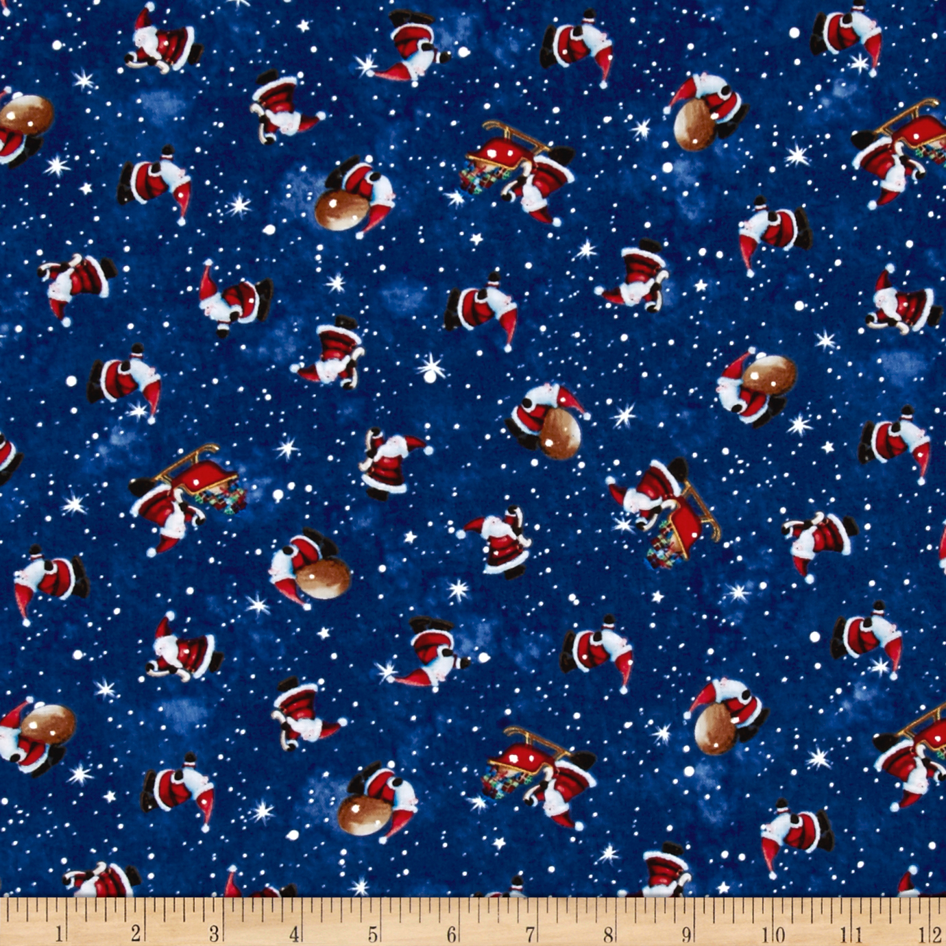 Christmas Village Tossed Santa Blue Fabric by P & B in USA
