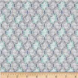 Downton Abbey II Rose Windows Aqua/Gray