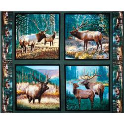Wild Wings Mountain Sky Elk Pillow Panel Dark Green