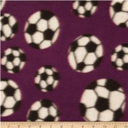 Printed Fleece Soccer Balls Burgundy Fabric