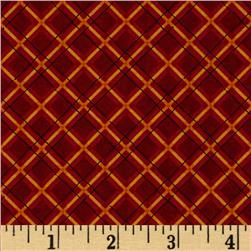 Kitty Kat Kapers Plaid Red Fabric