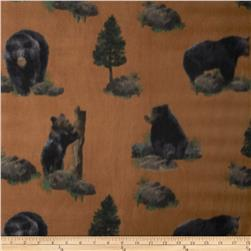Fleece Print Black Bear Rust