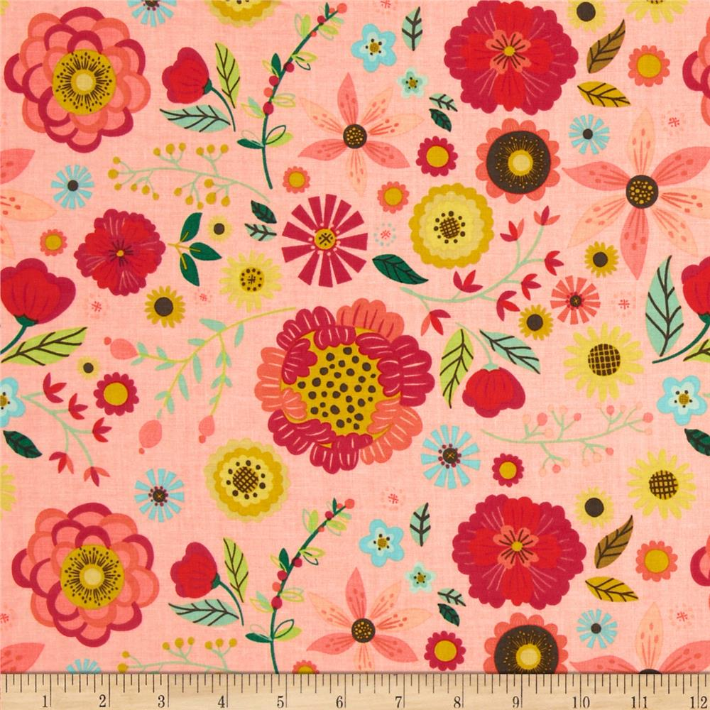 Riley Blake Roots & Wings Large Floral Coral