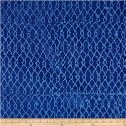 Indian Batik Hollow Ridge Grid Blue