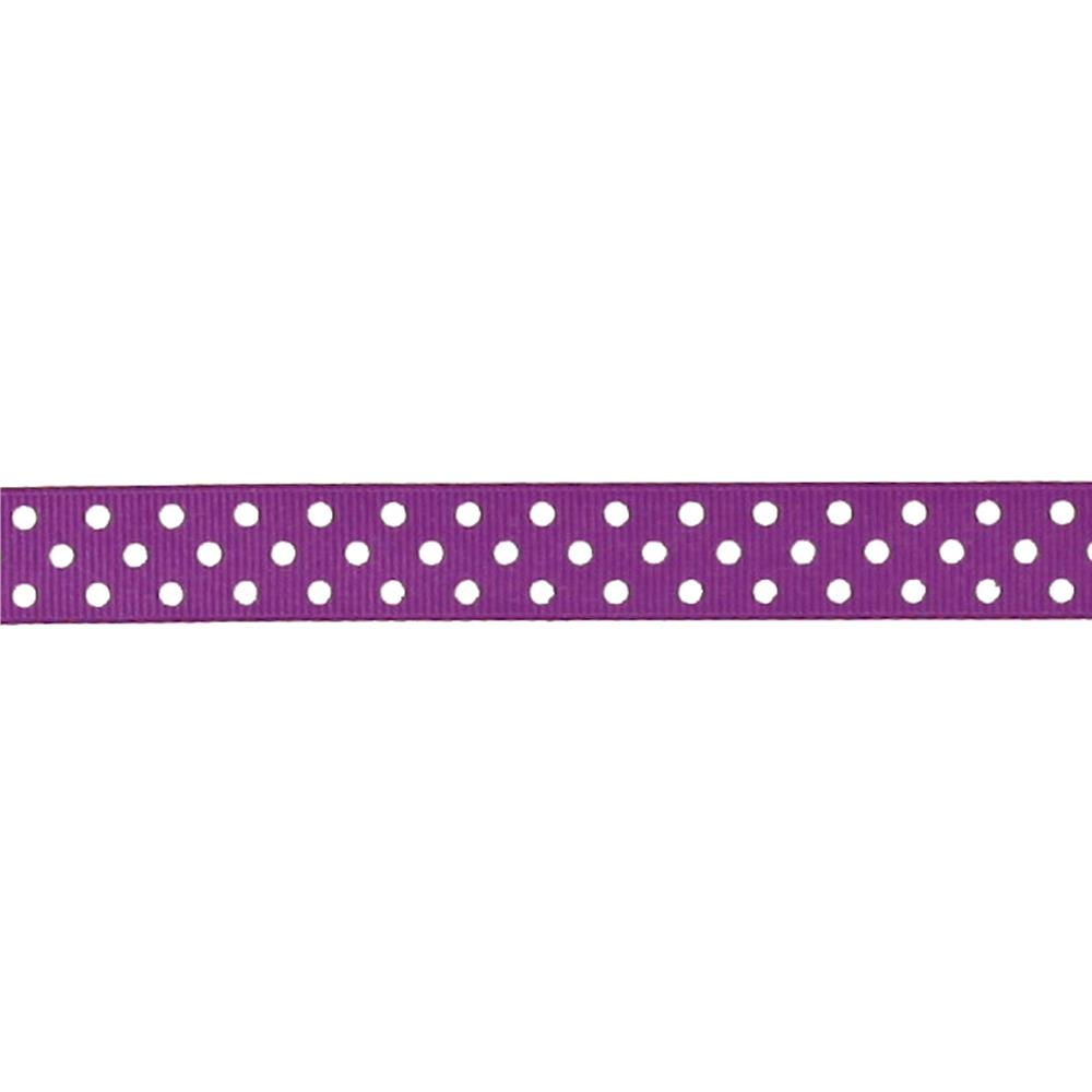 "May Arts 5/8"" Grosgrain Dots Ribbon Spool Purple/White"