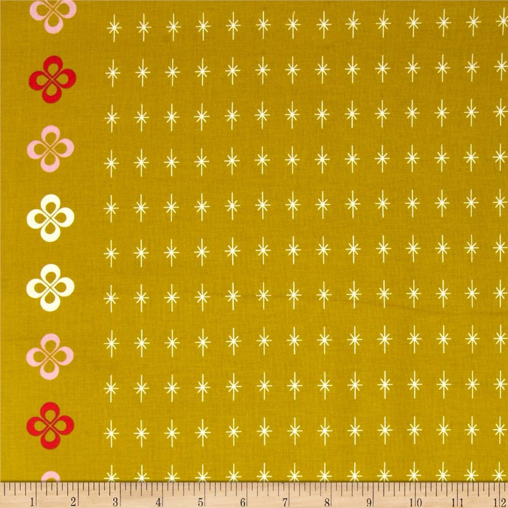Cotton & Steel Mustang Single-Border Stars Gold