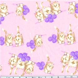 Flannel Kittens At Play Pink Fabric