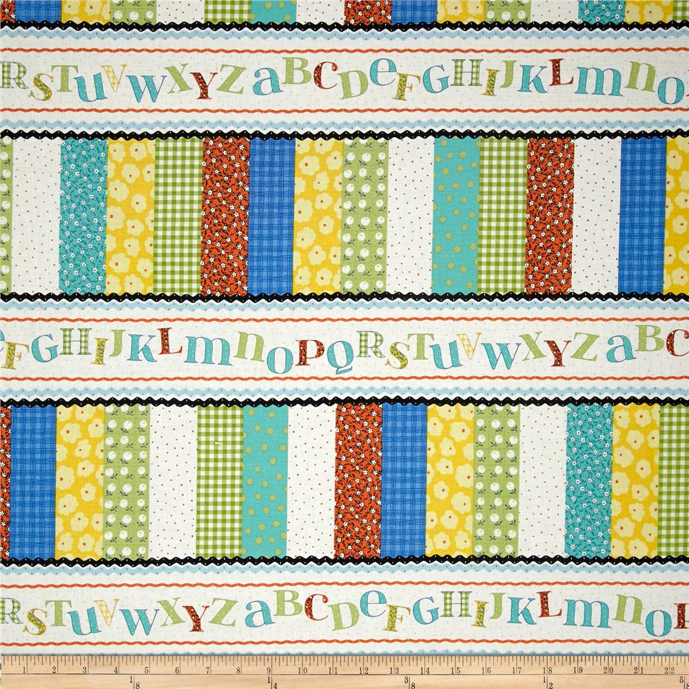 Patchwork Pals Alphabet Repeating Stripe Multi