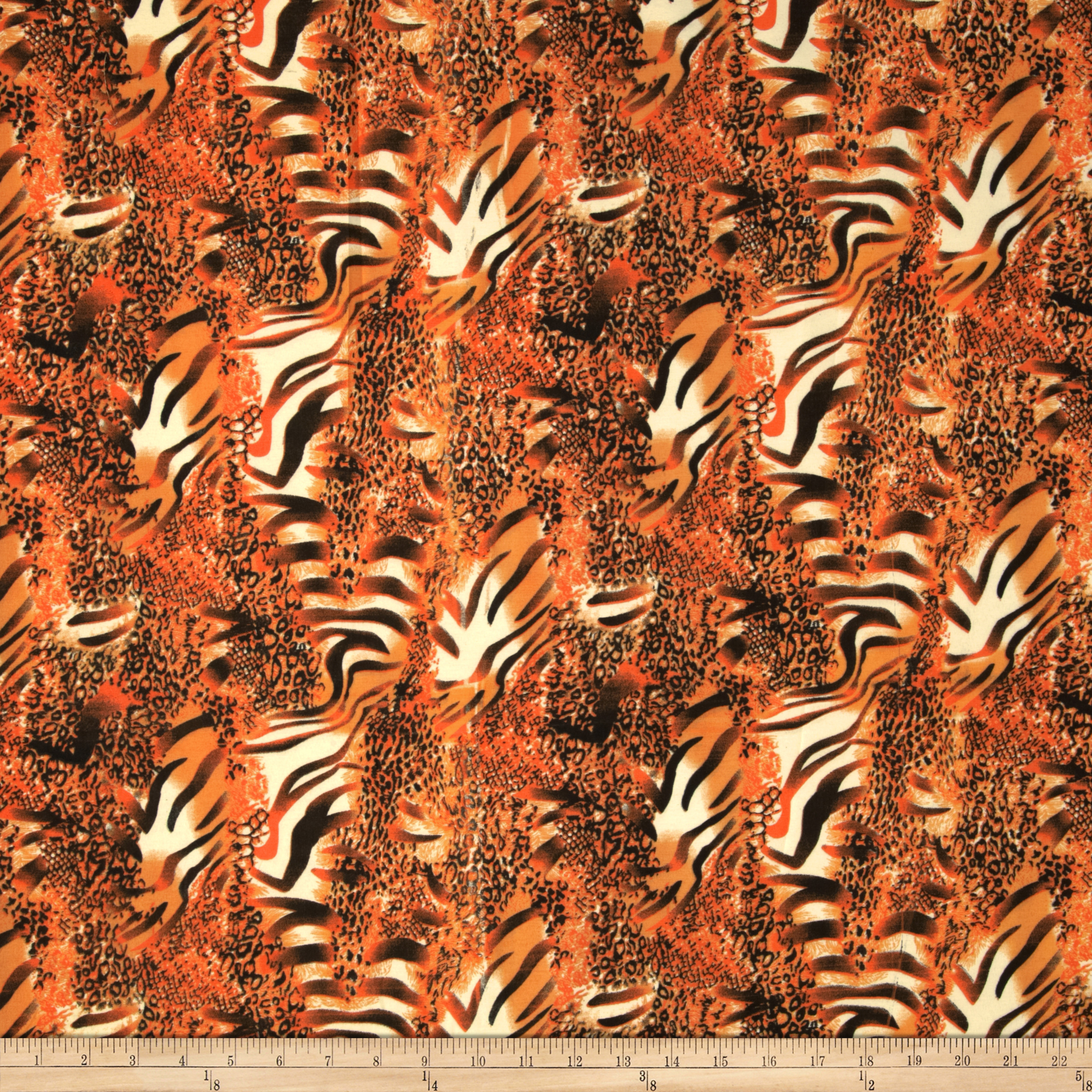 Jungle Safari Broadcloth Animal Orange Fabric