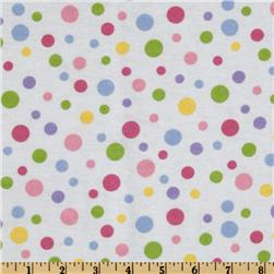 Alpine Spring Garden Flannel Dots White Fabric