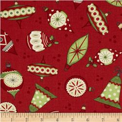 Debbie Mumm Jolly Christmas Ornaments Red Fabric