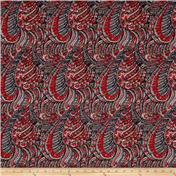 Brazil Stretch ITY Jersey Knit New Paisley Red/Black/Charcoal
