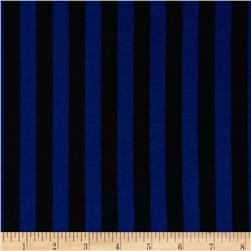 Soft Jersey Knit Small Stripes Royal/Black