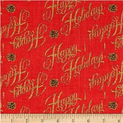 Happy Holiday Glitter Words Red