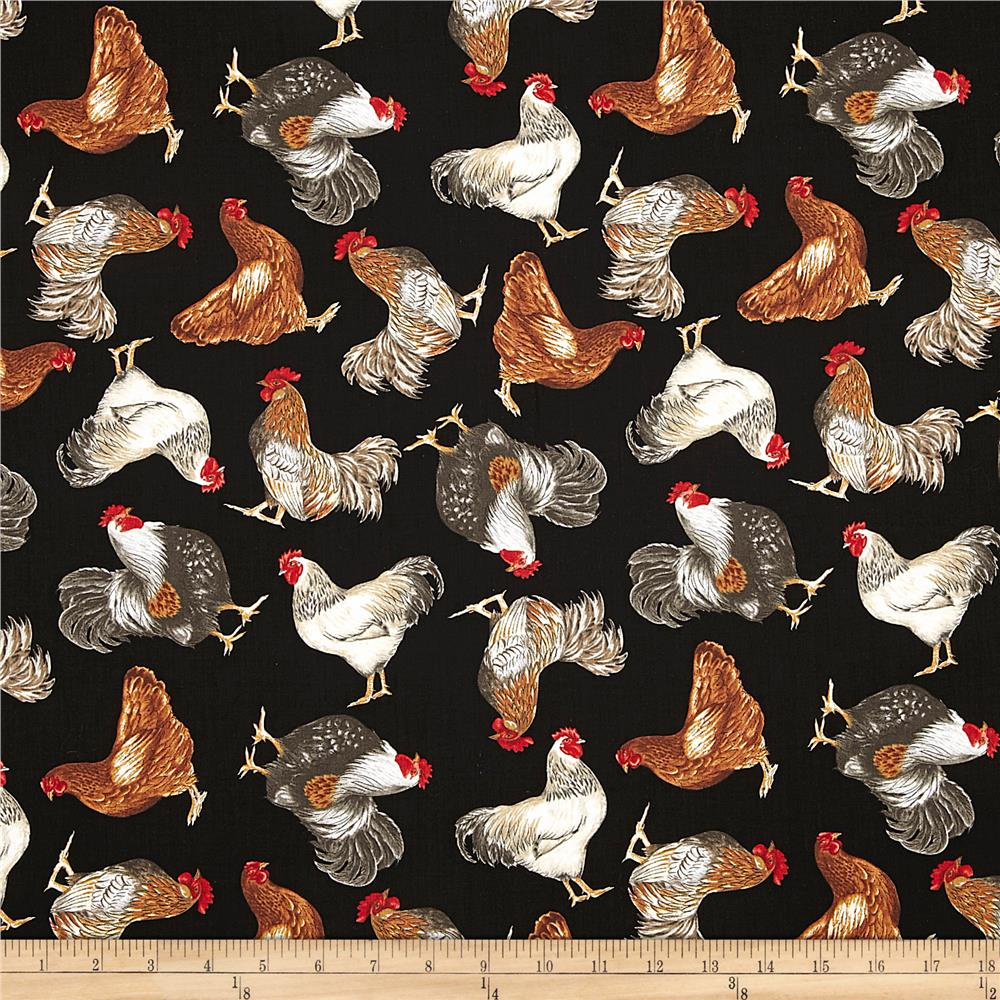 Timeless Treasures Roosters Black