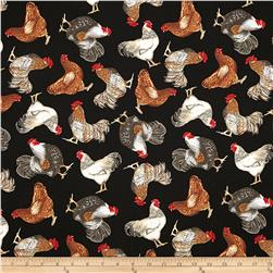Timeless Treasures Roosters Black Fabric