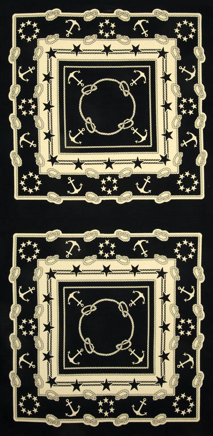 Moda Bar Harbor Anchor Scarf Panel Black