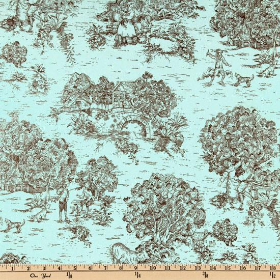 Pastoral Toile Aqua/Chocolate Brown