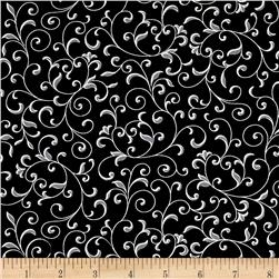 Black, White & Bright Scroll Vine Black
