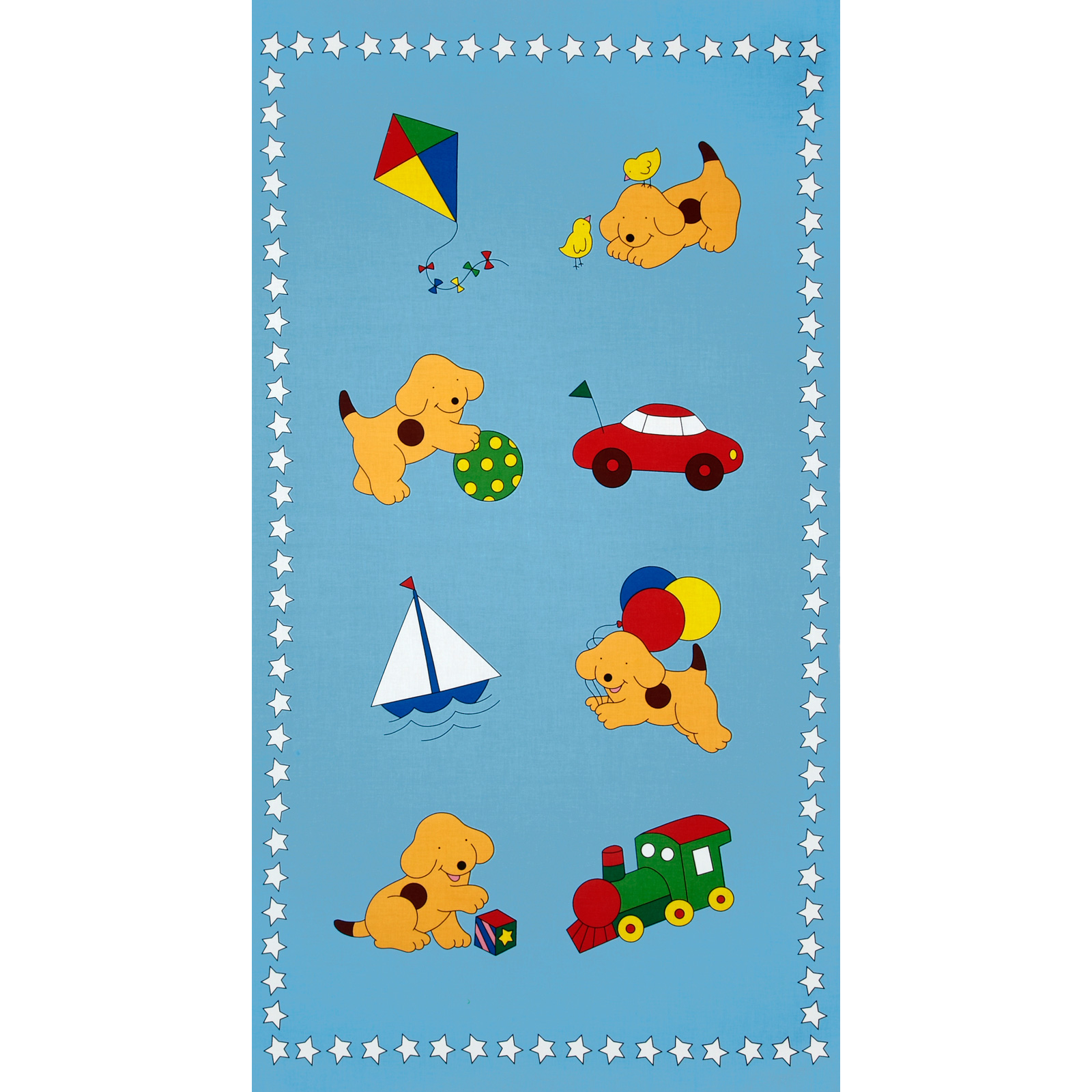 Goodnight Spot Panel Play Blue Fabric