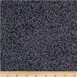 Berries and Blooms Metallic Scroll Storm/Silver