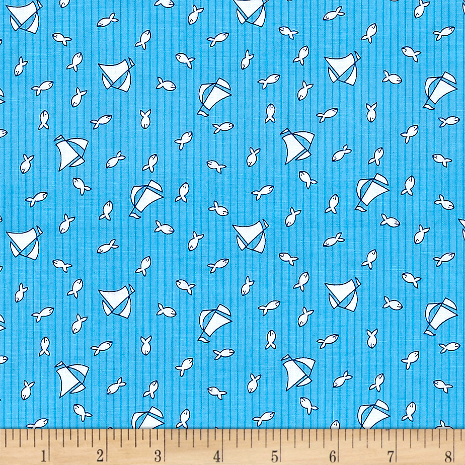 Image of Bon Voyage Fishing Boats Ocean Fabric