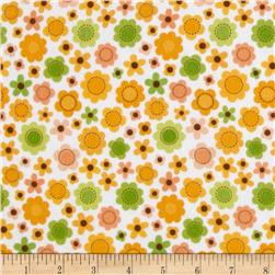 Riley Blake Sweet Baby Girl Flannel Sweet Flowers Orange