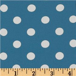 Crepe Georgette Polka Dots Turquoise/White