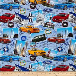 Ford Mustang Road Map Allover Multi Fabric