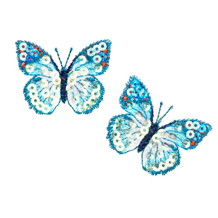Small Butterfly Iron On Sequin Applique Blue