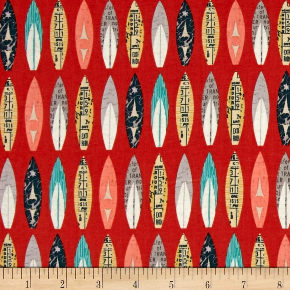 Riley Blake Offshore Surfboards Red