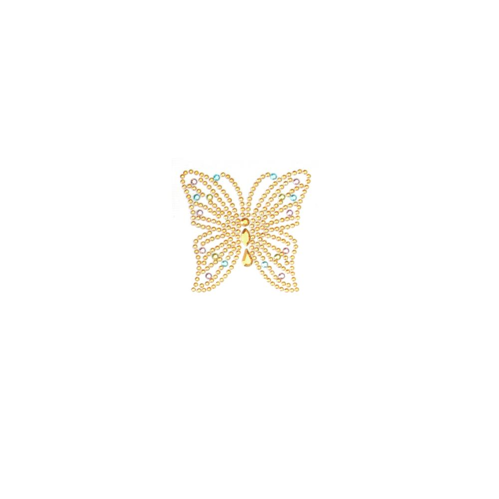 Butterfly Rhinestud Applique Pastel Yellow