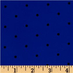 Polyester Prints Peachskin Dots Royal/Black