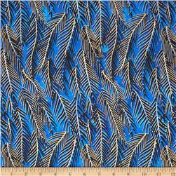 Indian Batik Fir Sprigs Metallic Blue Fabric