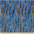 Indian Batik Fir Sprigs Metallic Blue