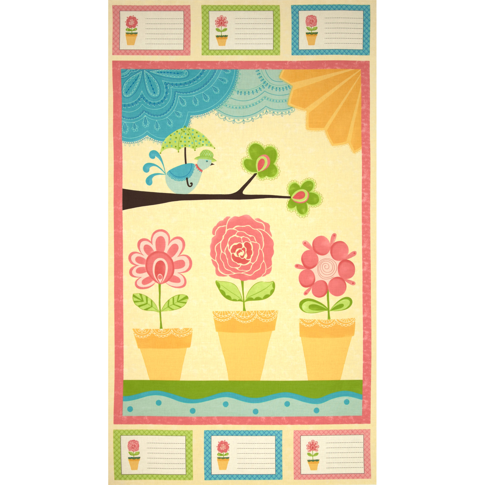 Moda Chance of Flowers Panel Sun Fabric