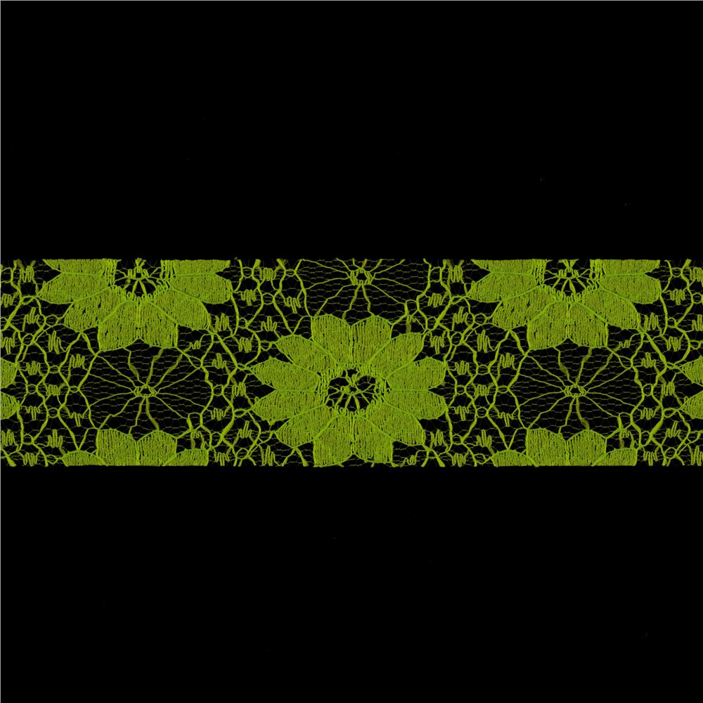 1 1/2'' Floral Lace Ribbon Parrot Green