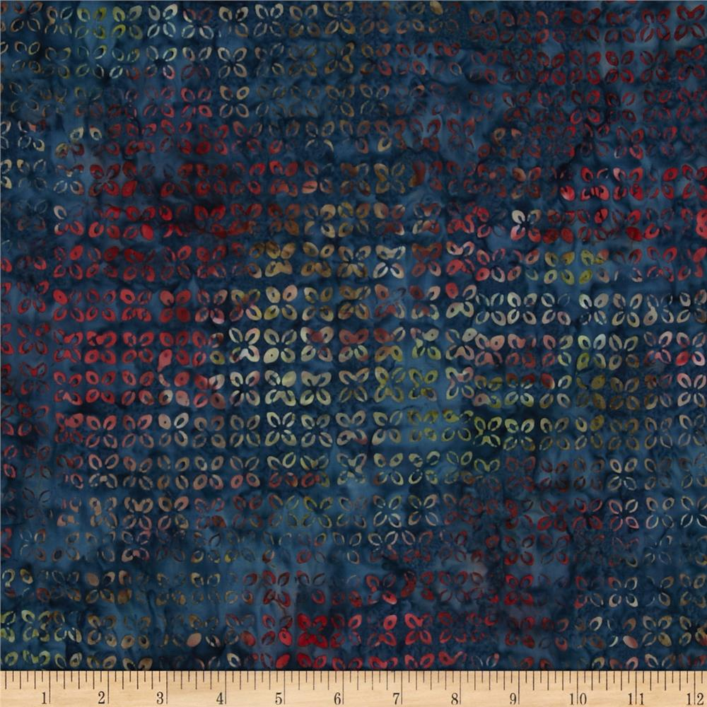 Moda Woodland Summer Batiks Patterned Buds Indigo