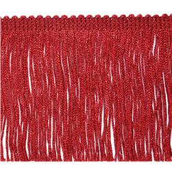 4'' Metallic Chainette Fringe Trim Red