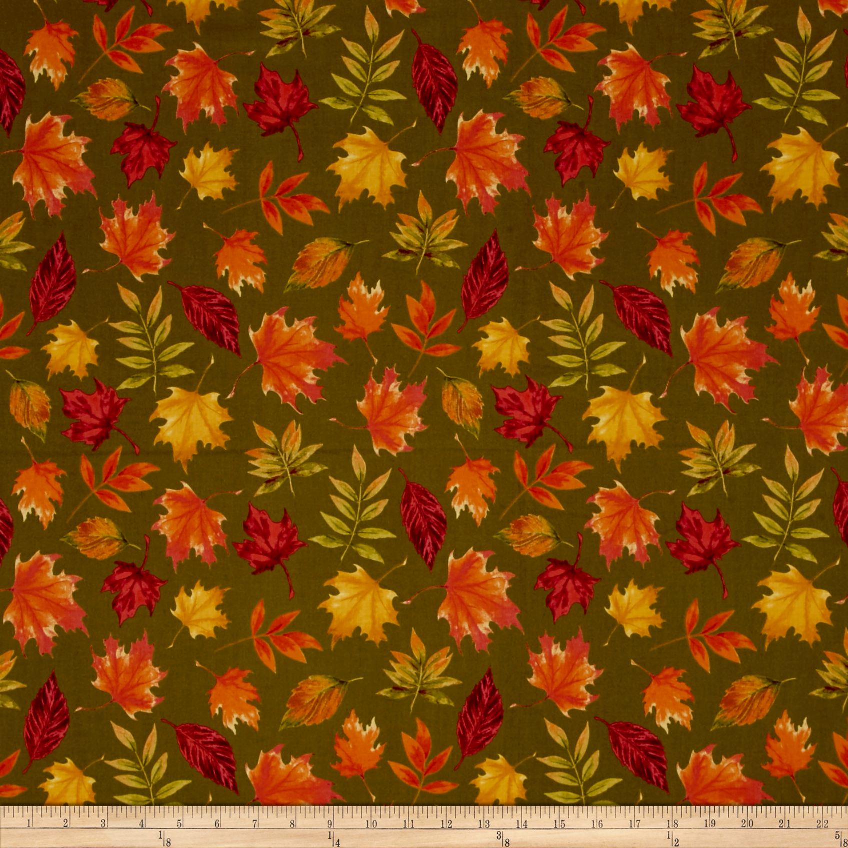 Penny Rose Autumn Hue Leaves Green Fabric by Christensen in USA