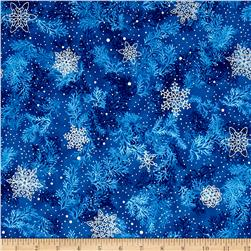 Kaufman Holiday Flourish Metallic Branches Indigo