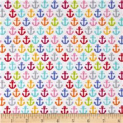 Timeless Treasures Sunkissed Swimmers Flannel Anchors White