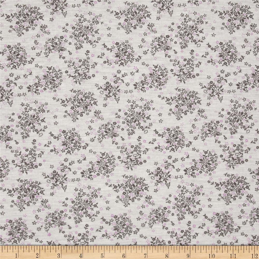 Jersey Knit Floral Grey Lilac