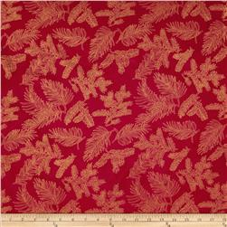 Island Batik Holiday Pine Needles Metallic Red