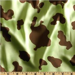 Charmeuse Satin Cow Lime/Brown Fabric