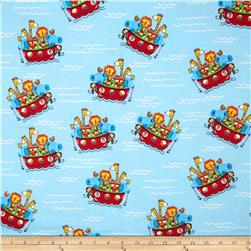 Comfy Flannel Animals & Ark Blue Fabric